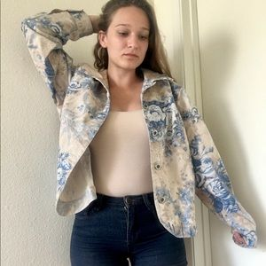Blue Floral Print Beige Button Up Jean Jacket